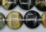 CTE565 15.5 inches 20mm flat round golden & blue tiger eye beads