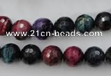 CTE582 15.5 inches 8mm faceted round colorful tiger eye beads