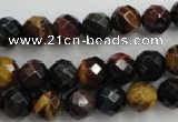 CTE713 15.5 inches 10mm faceted round mixed color tiger eye beads