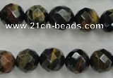 CTE724 15.5 inches 12mm faceted round yellow & blue tiger eye beads