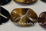 CTE803 15.5 inches 20*30mm wavy oval colorful tiger eye beads