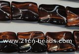 CTE865 15.5 inches 15*20mm wavy rectangle red tiger eye beads