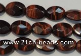 CTE872 15.5 inches 10*14mm faceted oval red tiger eye beads
