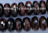 CTE94 15.5 inches 10*18mm faceted rondelle red tiger eye beads