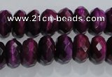 CTE982 15.5 inches 8*12mm faceted rondelle dyed red tiger eye beads