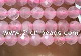 CTG1016 15.5 inches 2mm faceted round tiny rose quartz beads
