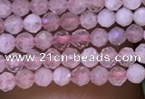 CTG1018 15.5 inches 2mm faceted round tiny rose quartz beads