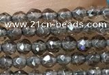 CTG1020 15.5 inches 2mm faceted round tiny smoky quartz beads