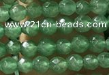 CTG1155 15.5 inches 3mm faceted round tiny green aventurine beads