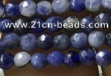CTG1192 15.5 inches 3mm faceted round tiny blue spot stone beads
