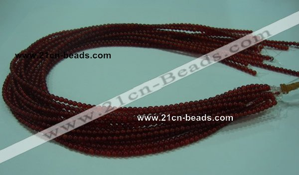 CTG12 15.5 inch 3mm round A grade tiny red agate beads wholesale
