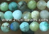 CTG1211 15.5 inches 4mm faceted round tiny chrysocolla beads