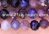 CTG1337 15.5 inches 4mm faceted round ruby & sapphire beads