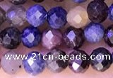 CTG1338 15.5 inches 4mm faceted round ruby & sapphire beads
