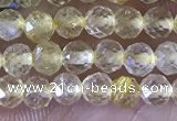 CTG1361 15.5 inches 3mm faceted round golden rutilated quartz beads