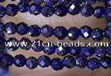 CTG1450 15.5 inches 2mm faceted round blue goldstone beads wholesale
