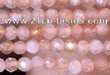 CTG1455 15.5 inches 2mm faceted round sunstone beads wholesale
