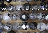 CTG1490 15.5 inches 3mm faceted round black rutilated quartz beads