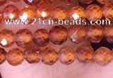 CTG1512 15.5 inches 3mm faceted round garnet beads wholesale