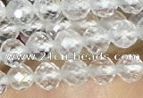 CTG1530 15.5 inches 4mm faceted round white crystal beads wholesale