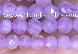 CTG1532 15.5 inches 4mm faceted round lavender amethyst beads