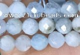 CTG1536 15.5 inches 4mm faceted round aquamarine beads wholesale