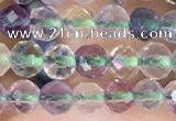 CTG1540 15.5 inches 4mm faceted round fluorite beads wholesale