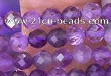CTG1623 15.5 inches 3mm faceted round tiny amethyst beads