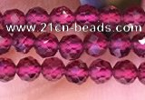 CTG1655 15.5 inches 3.5mm faceted round tiny red garnet beads