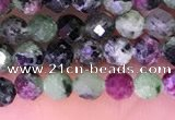 CTG1673 15.5 inches 3mm faceted round tiny ruby zoisite beads