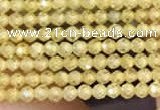 CTG2103 15 inches 2mm faceted round tiny quartz glass beads