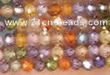 CTG2106 15 inches 2mm faceted round tiny quartz glass beads