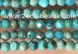 CTG2129 15 inches 2mm,3mm faceted round synthetic turquoise beads