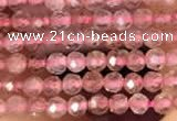 CTG2141 15 inches 2mm,3mm & 4mm faceted round strawberry quartz beads