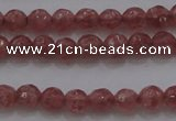 CTG223 15.5 inches 3mm faceted round tiny strawberry quartz beads