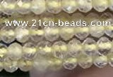 CTG2244 15 inches 2mm faceted round golden rutilated quartz beads