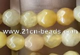 CTG2517 15.5 inches 4mm faceted round yellow jade beads