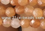 CTG2520 15.5 inches 4mm faceted round red aventurine beads