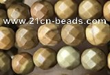 CTG3548 15.5 inches 4mm faceted round wooden jasper beads