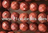 CTG3555 15.5 inches 4mm faceted round red jasper beads