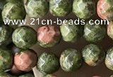CTG3579 15.5 inches 4mm faceted round unakite beads wholesale