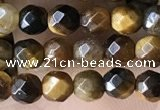 CTG3588 15.5 inches 4mm faceted round yellow tiger eye beads