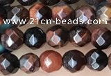 CTG3589 15.5 inches 4mm faceted round red tiger eye beads