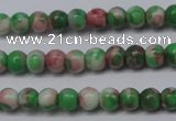 CTG451 15.5 inches 3mm round tiny dyed rain flower stone beads