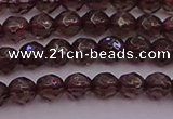 CTG511 15.5 inches 4mm faceted round tiny smoky quartz beads