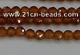 CTG554 15.5 inches 4mm faceted round tiny orange garnet beads