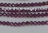 CTG619 15.5 inches 2mm faceted round Indian purple garnet beads