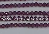 CTG620 15.5 inches 3mm faceted round Indian purple garnet beads