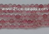 CTG625 15.5 inches 2mm faceted round strawberry quartz beads