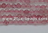 CTG626 15.5 inches 3mm faceted round strawberry quartz beads